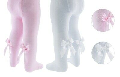Girls Spanish Style Tights Diamond Bow Age 0 1 2 3 4 5 Years White Pink Rose NEW 2