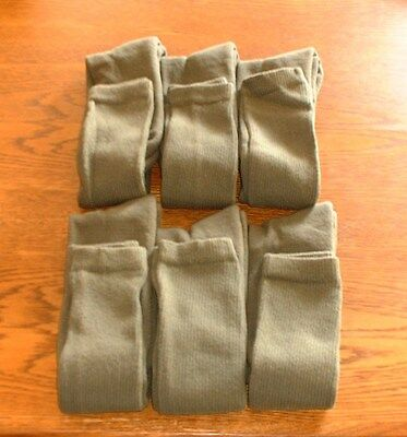 Military Army Over The Calf Green Boot Socks 6 Pairs Made In USA Various Sizes 9
