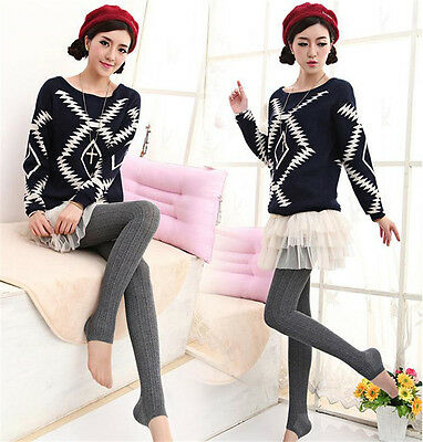 Women Winter Cable Knit Sweater Footed Tights Warm Stretch Stockings Pantyhose j 10