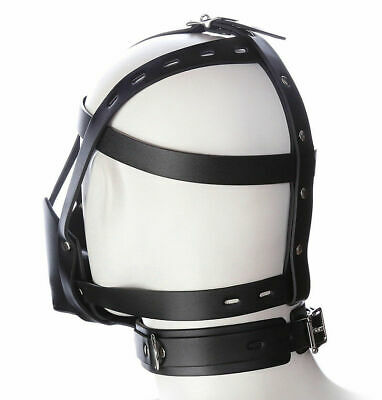 Hot Pu Leder Gimp Spielzeug Kopf Harness Hood Maske Gesicht MUZZLE Bondage Hood 3