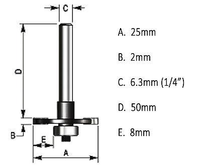 2mm Slot Cutter Bit for Knock on furniture T Trim Router Camper