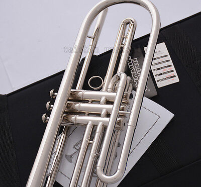 Professional Silver nickel Bb Bass Trumpet 3 Piston Vavles JINBAO Horn With Case 7