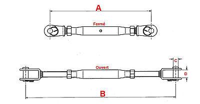 Ridoir M4 Chape Terminaison Chape 105 mm ( Lot de 2 ) inox 316 - A4 2