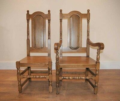 4 Oak Farmhouse William Mary Kitchen Chairs Tudor 10