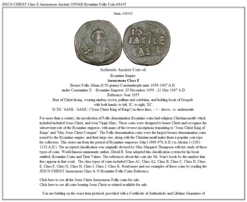 JESUS CHRIST Class E Anonymous Ancient 1059AD Byzantine Follis Coin i48445 3