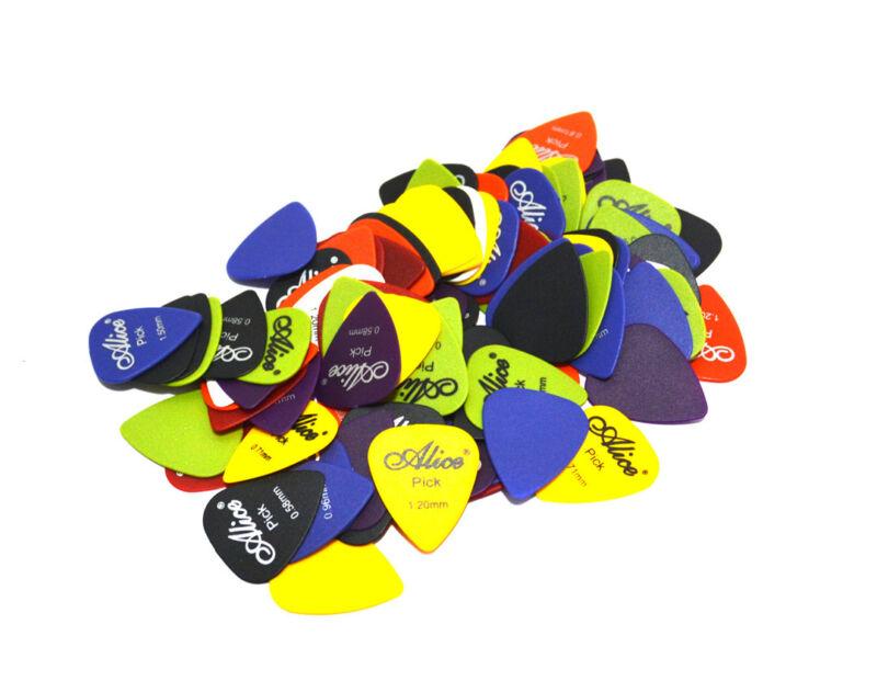 100x ALICE Guitar Picks Bulk Coloured Celluloid Plectrums Standard Mixed Gauges 5