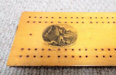 Mauchline Ware Cribbage Board Antique c1870 Holyhead Harbour 3