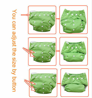 New 10pcs+10 INSERTS Adjustable Reusable Lot Baby Washable Cloth Diaper Nappies 4
