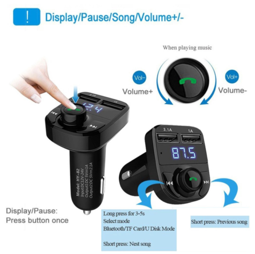 Bluetooth In-Car Wireless FM Transmitter MP3 Radio Adapter Car Dual USB Charger 2