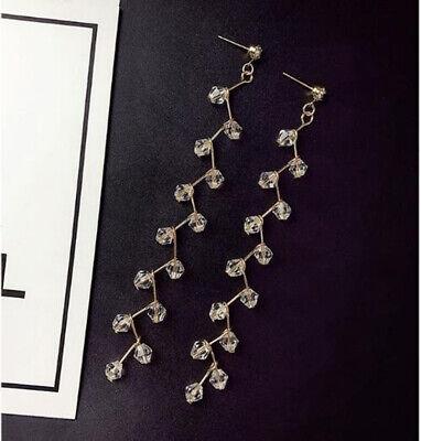 Long Tassel Crystal Hook Earrings Women Drop Dangle Ear Stud Wedding Party 3