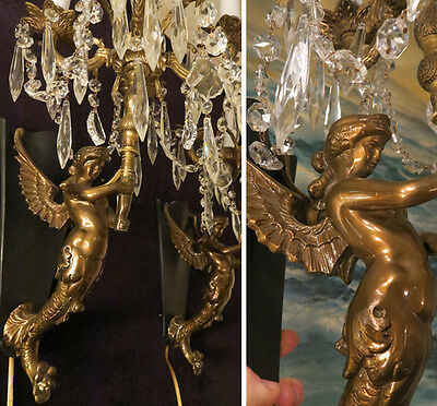 2 Sconces Antique Deco Spelter Mermaid crystal brass bronze lamp Whimsical lady