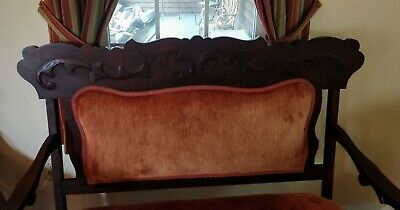 Antique Victorian Orange Velvet Eastlake Parlor Settee - LOCAL PICK UP ONLY 2