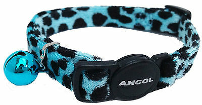 Ancol Velvet Leopard Print Cat Collar Turquoise 3