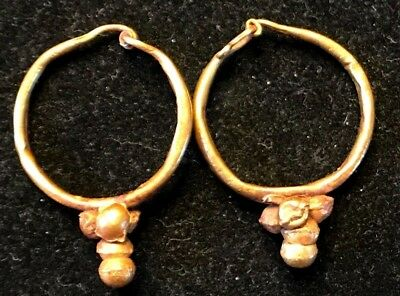 ANCIENT ROMAN-BYZANTINE PAIR OF HOOP GOLD EARRINGS w/ DECORATION! NICE!!! 3