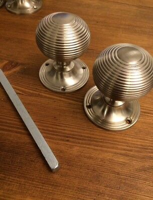 6 PAIRS Satin chrome Beehive door knobs,Victorian Antique style Beehive handles 2