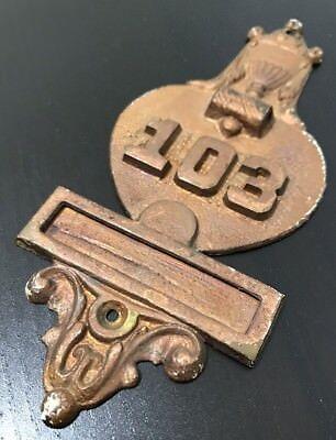 Antique Brass Door Knocker Plaque Numbered Architecture Salvage Gold Cup 103 VTG 4
