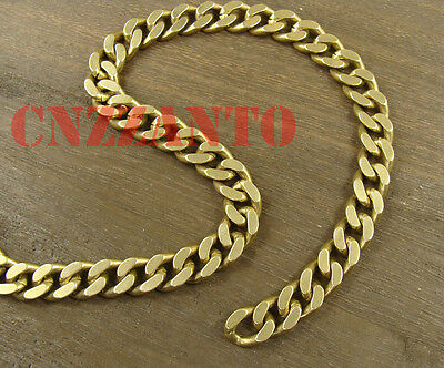 Heavy duty 10 foot solid brass Curb Cuban chain 10.6mm wide for wallet Fob chain