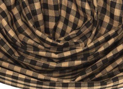 "Black & Khaki Tan Check Countrytyle Lined 100% Cotton Balloon Valance 60"" Wide 3"