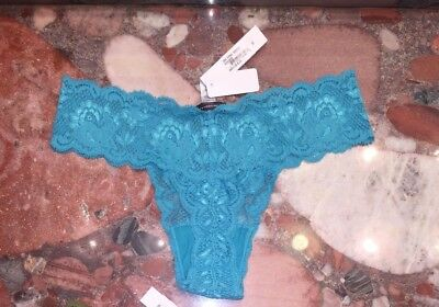 NWT Cosabella Italy Never Say Never Thong Bootie Aloe Green Lace Panties O//S