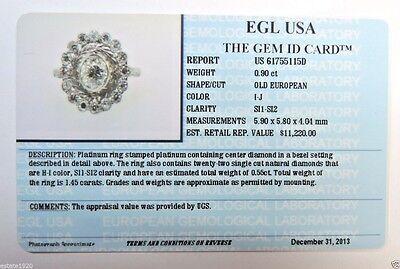 Antique Art Deco Vintage Diamond Platinum Engagement Ring Size 6.25 EGL USA Fine 12