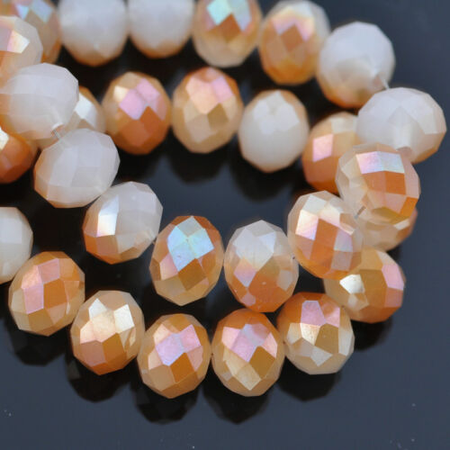 Lots Wholesale Rondelle Faceted Crystal Glass Loose Spacer Beads 3/4/6/8/10mm 4