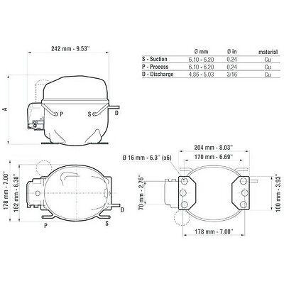 3S MOTORE Compressore FRIGO R404A 3/4 Hp 14,3 cm3 Embraco Aspera NEK2168GK CSIR 2