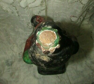 "Rare Pharaonic Statue, Ancient Egyptian Wood Carvings & ‬‏Enamel. ""HOLD A TOT"" 9"
