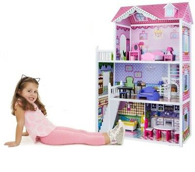 3 Storey Large Mansion Kids Girl Wooden Doll House Pink Dollhouse Furniture 18pc 9