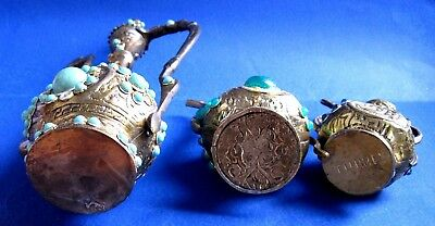 TURKISH ORNAMENTAL BRONZE & BRAS /  Kettle & PLASTIC ORNAMENTAL LOT OF 3 6