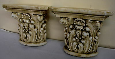 Pair Antique Finish Shelf Capitol plaster Wall Corbel Sconce Bracket Home Decor 8