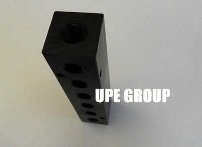 3 Outlet Aluminum Manifold Block Splitter Compressed Air Tool Fuel Fluid Air