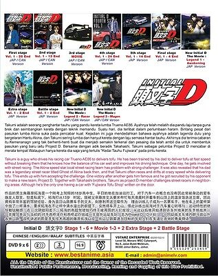 DVD Anime INITIAL D Stage 1-6 + Movie 1-3 + 2 Extra Stage + 2 Battle English Sub