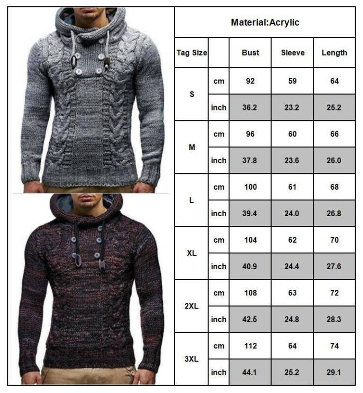 Mens Warm Knitted Hooded Long Sleeve Jumper Pullover Casual Sweater Winter Coat 3