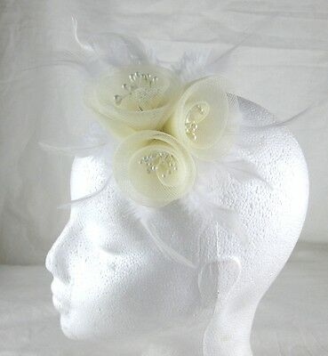 ivory cream fascinator millinery feather brooch clip wedding hair piece ascot 2