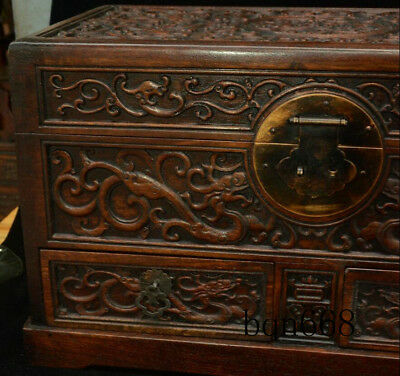 """16"""" China old Huang Huali Wood carving Dragon Beast Storage Jewelry Box Statue 6"""