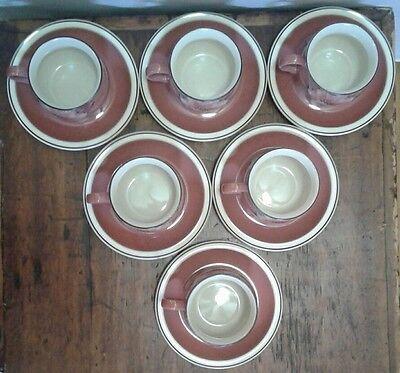 Denby Damask Teacup and Saucer Set of 6 Pink Floral 2