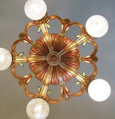 975 Vintage 20s 30s Ceiling Light  aRT Nouveau Polychrome Chandelier antique 8