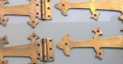 4 Large hinges vintage aged style solid Brass DOOR box old look heavy 26 cm B 3