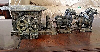 Old Chinese Han Dynasty Style Green Stone Horse Drawn Carriage/Imperial Wagon