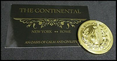 The Continental Hotel John Wick Business Card Gold Liquid Metal Pop Reeves Coin  2