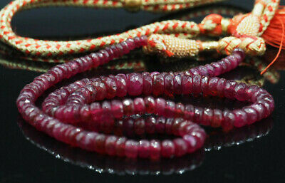 Hand cut Real Ruby Faceted Big 6mm Beads Finest Quality  Precious Stone Necklace 4