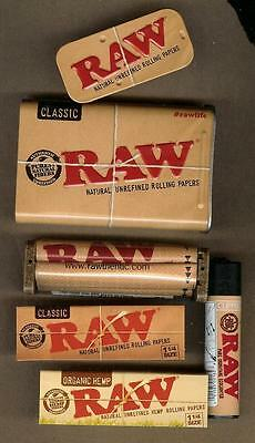 RAW Rolling Papers 1 1/4 Cigarette Tin Classic and Organic Hemp + Roller+Lighter 2