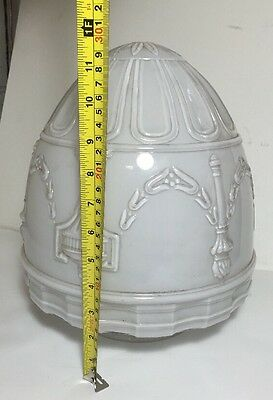 Excellent Vintage White Frosted Ceiling Light Fixture Shade Home Decor 12