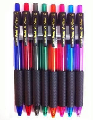 8 x Pentel BK460 e-flow Retractable Ball Pen 1.0mm Metal Tip triangular grip 3