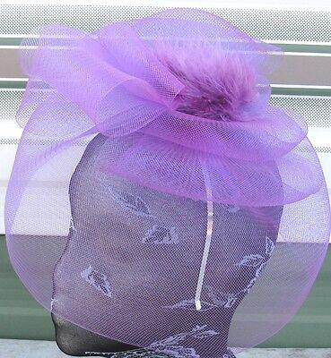 purple feather fascinator millinery burlesque headband wedding hat race ascot 3