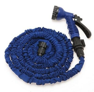 Latex 25 50 75 100 FT Expanding Flexible Garden Water Hose with Spray Nozzle 8