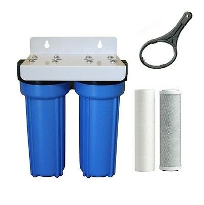 """Whole House Water Filter System 10"""" x 2.5"""" inc Carbon + Sediment Cartridge"""