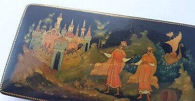 Papiermâché Casket Varnish Can Hand Painted Russia Палех um 1988 AL1195 8