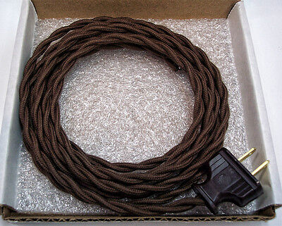 Dark Brown Cloth Covered Wire Vintage Rewire Kit Lamp Cord Fan Antique Restore 2