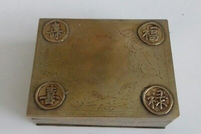 3 Antique Chinese Brass Hand Engraved Cigarette Box. Symbols. 3